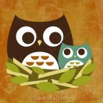 14r Retro Owl Family In Ne..