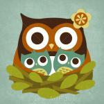 32r Retro Owl Twins Nest 6..