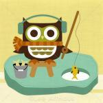 34r Retro Owl Ice Fishing ..